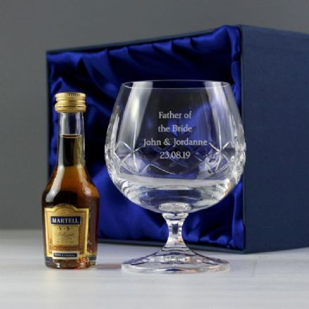 Personalised Crystal Glass & Miniature Brandy Gift Set